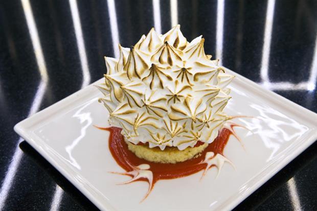 Signature desert: Baked Alaska; Sponge Cake, Fresh Strawberries, Meringue, Strawberry Jus, Strawberry Ice Cream