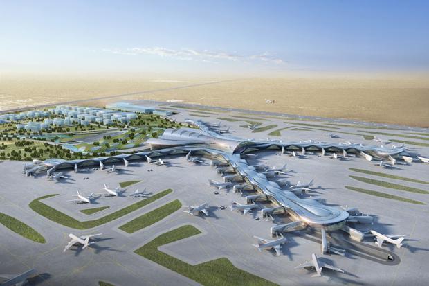 Luftansicht des geplanten Midfield Terminals
