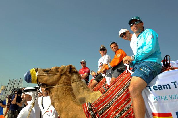 Volvo Ocean Race skippers parade Arabian style through Abu Dhabi Destination Village